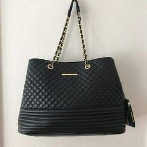 Steve Madden Black BPATTY Quilted Tote
